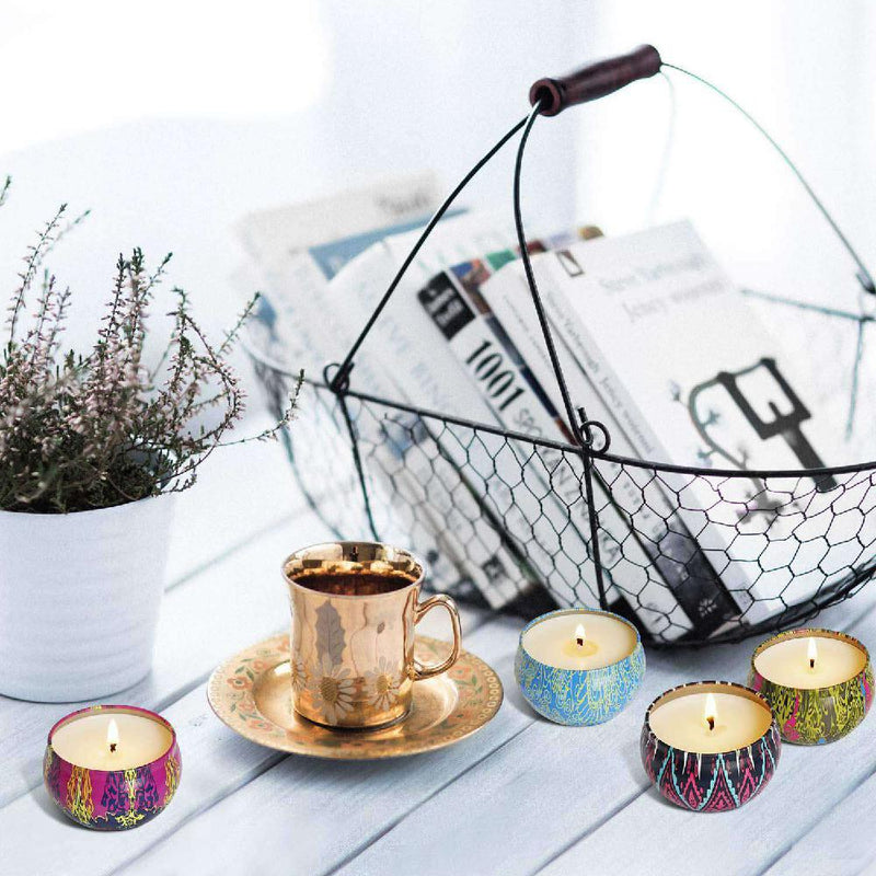 12Pcs/Set Soy Wax Scented Candles Ethnic Style Fragrance Candles for Travel Home Wedding Birthday Party Decoration