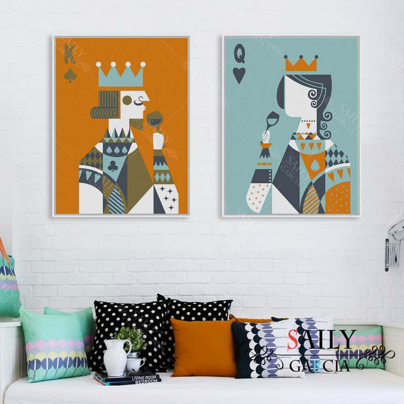 Modern Funny Poker King Queen Couple Love Poster Print A4 Wedding Wall Art Picture Hippie Home Decor Canvas Painting No Frame
