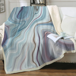 Marble Sherpa Blanket Rainbow Microfiber Throw Blanket Rock Stone Trendy Mantas De Cama Nature Colorful Bedding
