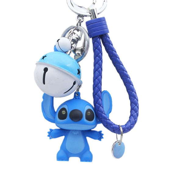 Cute Lilo Stitch LED Flashlight Keychain with Sound,Say I Love You Car Porte Clef Key Rings Charm Key Chain Trinkets Pendant