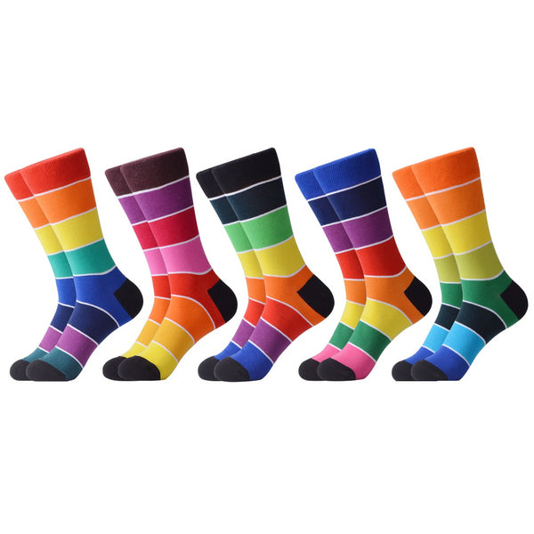 SANZETTI 5 Pairs/Lot New Style Rainbow Socks Men Women Happy Colourful Combed Cotton Crew Socks Party Gifts Creative Dress Socks