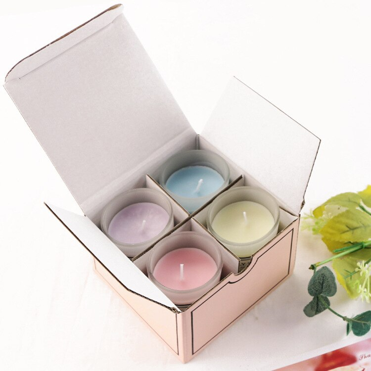 4pcs Scented Craft Candle Wedding Wax Smokeless Fragrant Candle Gifts Box Decorative Fressia Ocean Lavender Rose