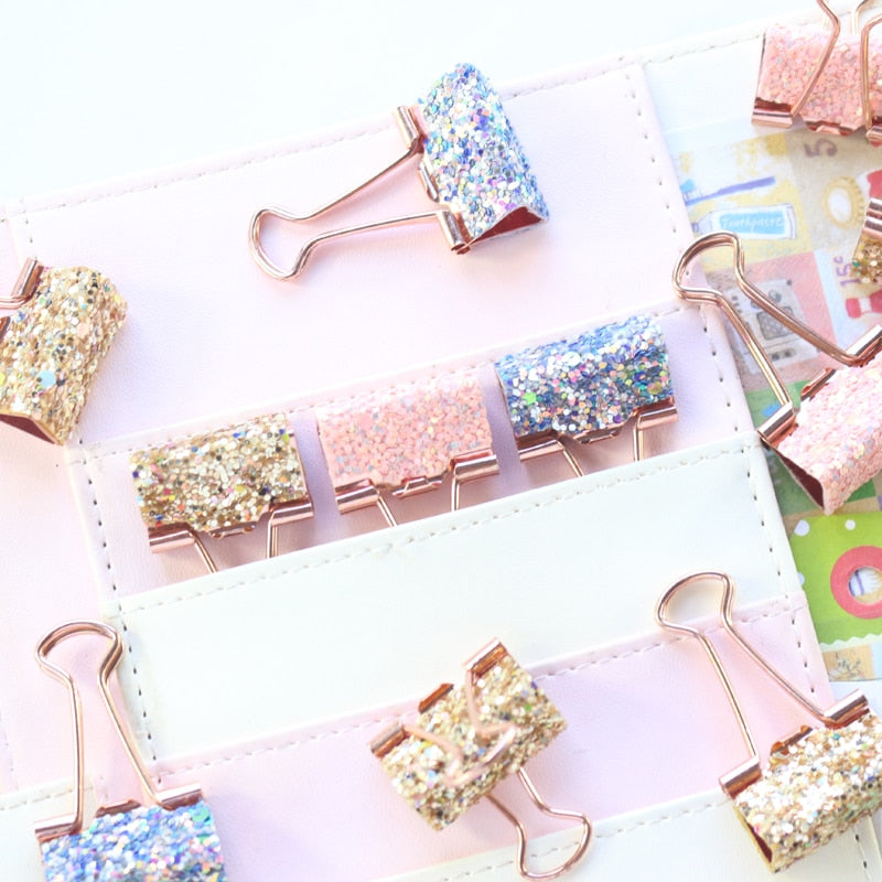 sequins metal office school binder clip set candy rose pink student paper document organizer clip stationery