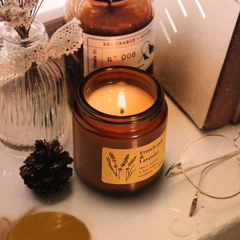 3pcs Aromatherapy Candles Minimalist Scented Candle Glass Cup With Lid Home Dectroation Bedroom Sleep Scented Decoration New HOt