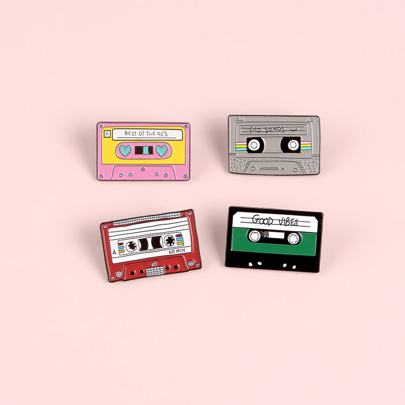 Best Songs Vintage Tape Enamel Pin Pink Grey Red Green Brooch Lapel pins Badges Clothes Bag Jewelry Gift for Friend
