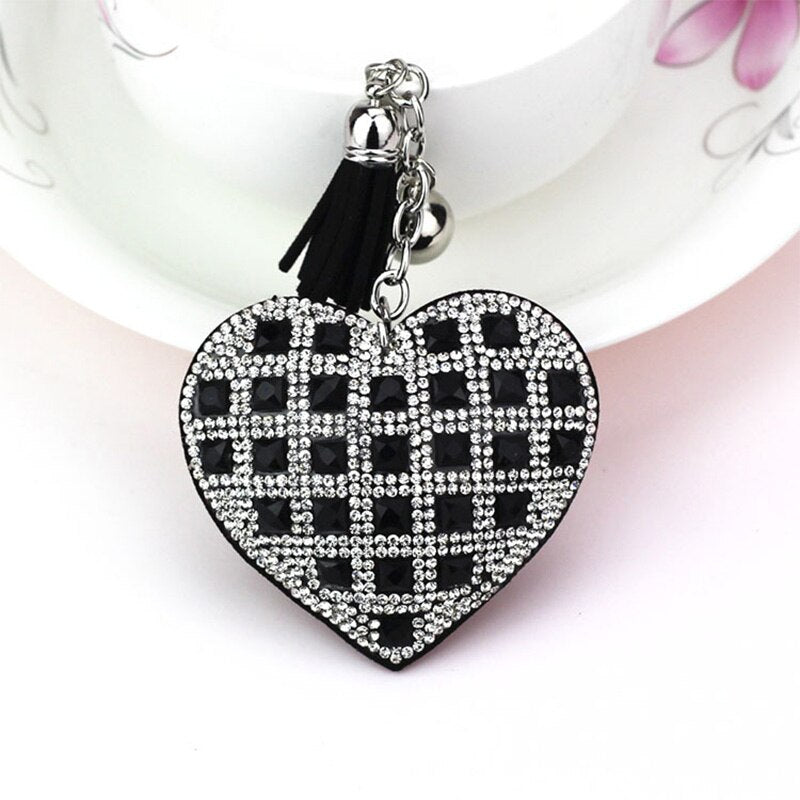 ZG Fashion Keychain Heart Shape Female Full Glass Beads Key Covers Mosaic Leather Fringed Key Chain Car Ring Cap Gift