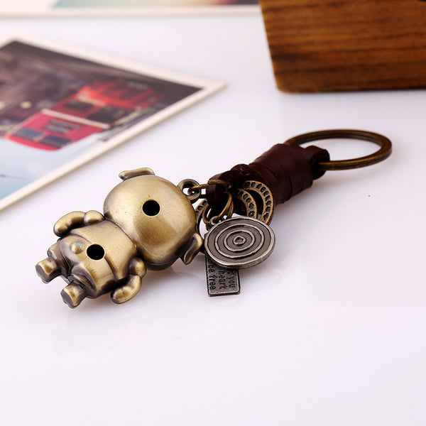 ZG Vintage Leather Circle Cartoon Pig Bear Keychain Keyring Charm Key Car Hanging Bag Pendent Hook Key Chain