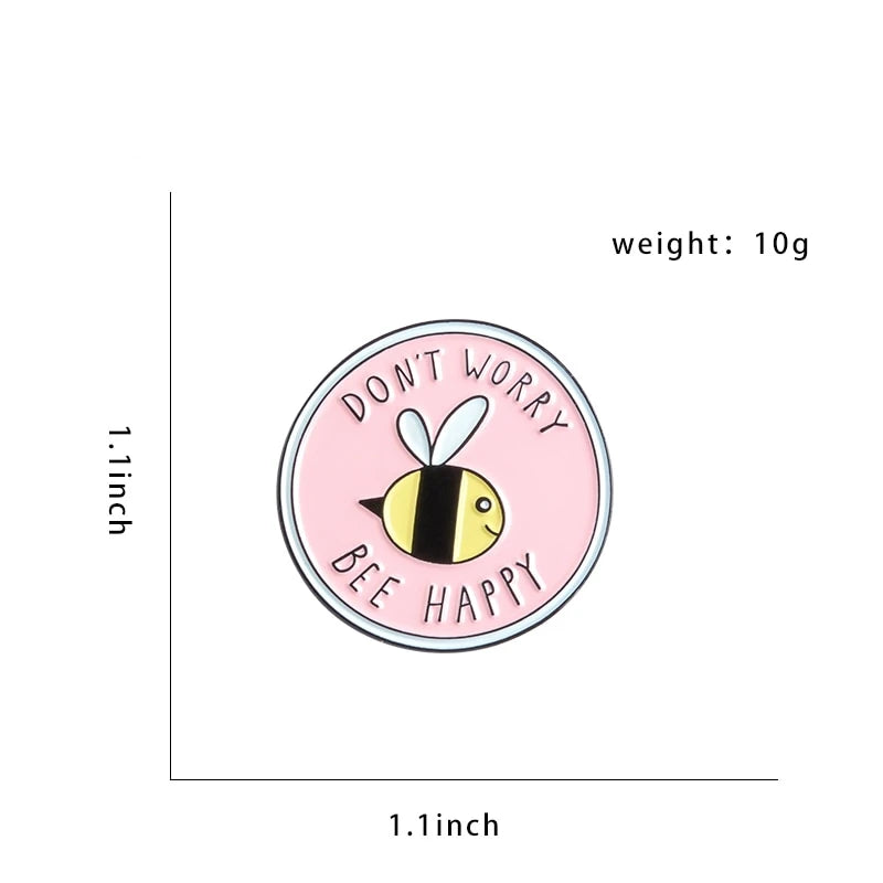 "QIHE JEWELRY Pink Cute Insect Bee Lapel Enamel pins ""DON'T WORRY BEE HAPPY"" Brooches Badges Clothes Bags pins Gift for Friends"