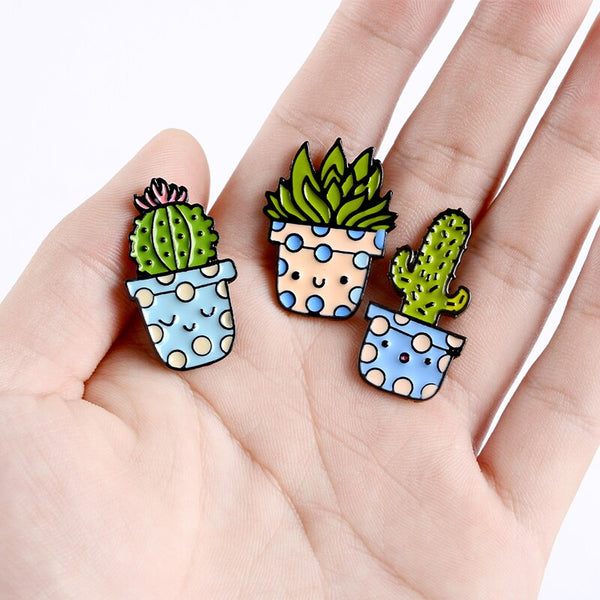 QIHE JEWELRY Cartoon Smiling Potted Plant Pins Cactus Enamel Pins Cute Brooches Badges Denim Clothes Bag Pins Gift for Friends