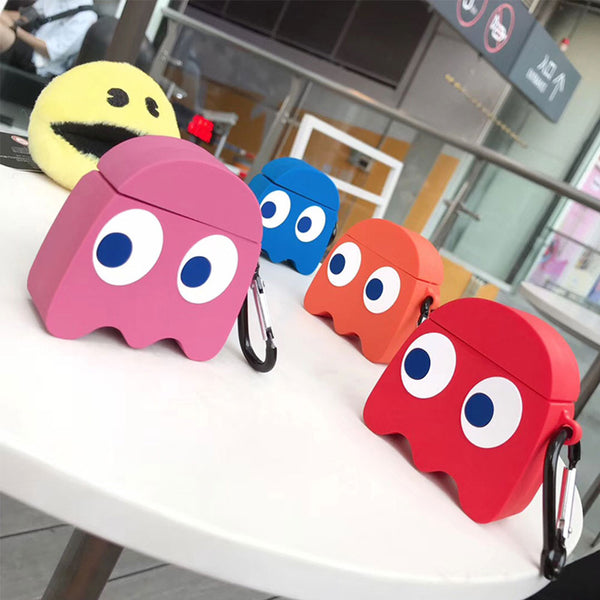 Hot cute Pac-Man Lover gift 3D soft Silicone Bluetooth Wireless Earphone cover For Apple AirPods 1 2 Box Headset coque case capa