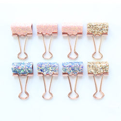 8pcs Stationery Clamp Sparkle Sequin Set