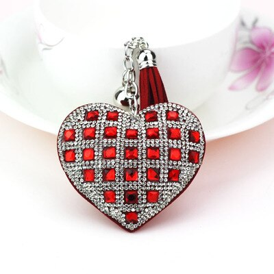 Heart Shape Glass Beads Key Ring