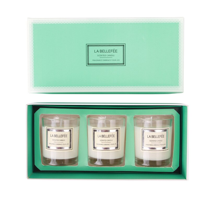 3PCS/Set Smokeless scented Candle Set with Soy Glass Candle Natural Essential Oil Aromatherapy Candle Home Wedding Decoration
