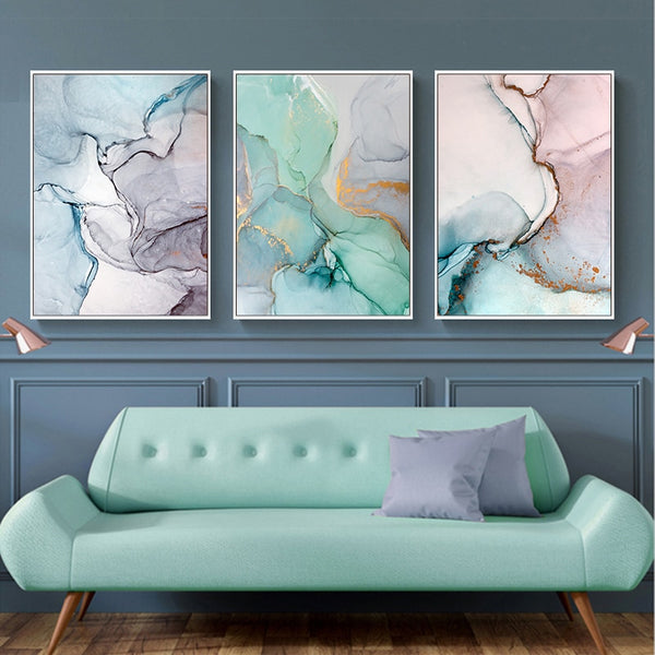 Geometric Agate Marble Abstract Canvas Painting Nordic Posters and Prints Wall Art Pictures for Living room Modern Home Decor
