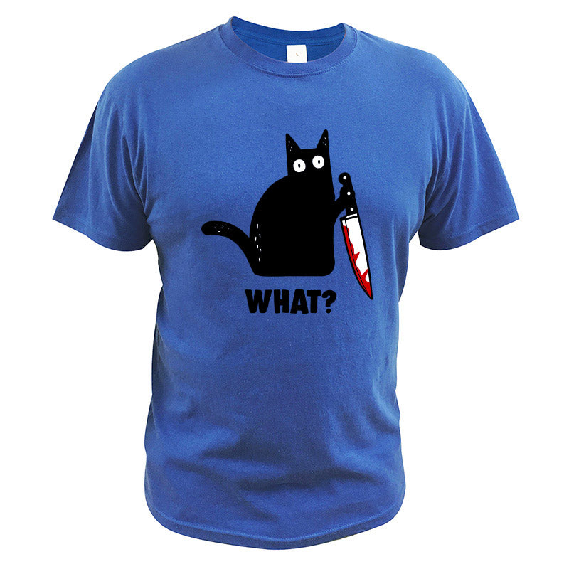 Funny Cat What T Shirt Murderous Cat With Knife Funny Halloween TShirt Crewneck Soft EU Size 100% Cotton Shirt