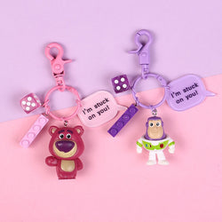 New Disney Movie Toy Story 4 Keychain Woody Buzz Lightyear PVC Action Figure Jessie Woody Alien Key Ring Toys for Children Gift