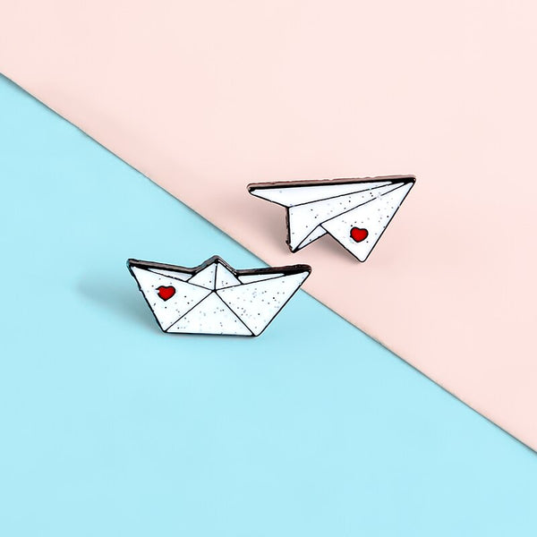 QIHE JEWELRY Paper Plane Boat Pins Love Letter Enamel Pins Cute Brooches Badges Denim Clothes Bag Pins Gift for Couple Friends