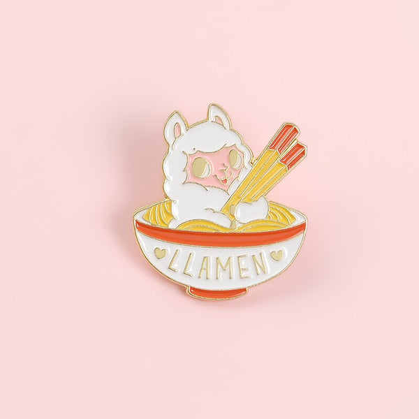 QIHE JEWELRY Chinese Bowl Noodles Brooches Pins Sheep Chopsticks Hard Enamel Metal Pins Denim Clothes Badges Cartoon Gifts Pins