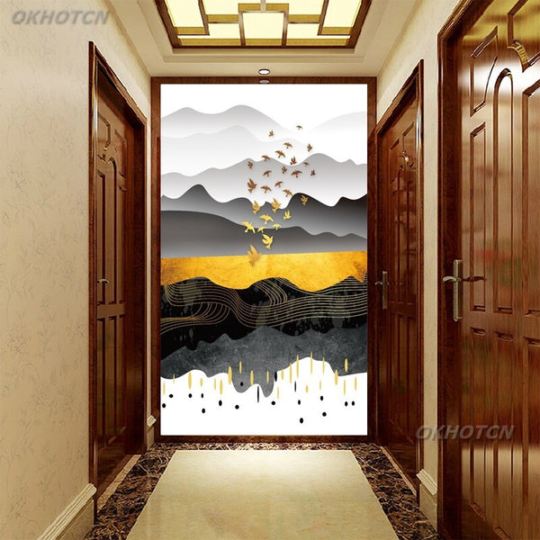 Wall Art Picture Living Room Aisle Home Decor Abstract Landscape Canvas Painting Golden Line Bird Modern Print Poster Minimalism