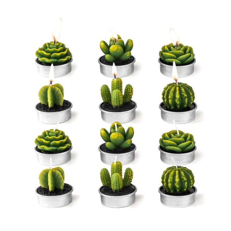 12PCS/set Home Decor Cactus Candle Table Tea Light Garden Mini Wax Green Candles For Wedding Birthday Decoration