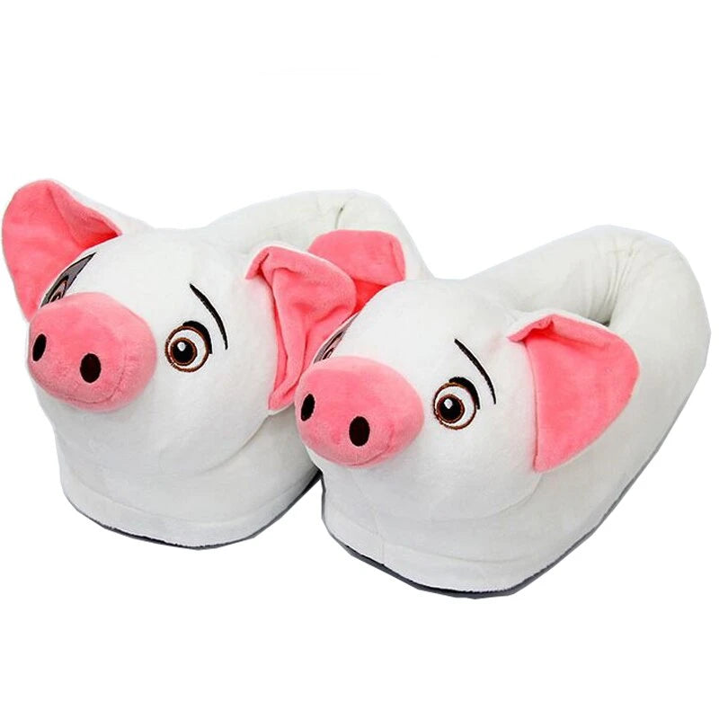 STONE VILLAGE White Pig Cotton Home Slippers Playful Pig Animation Film Plush Warm Winter Indoor Shoes Women Slippers Shoes