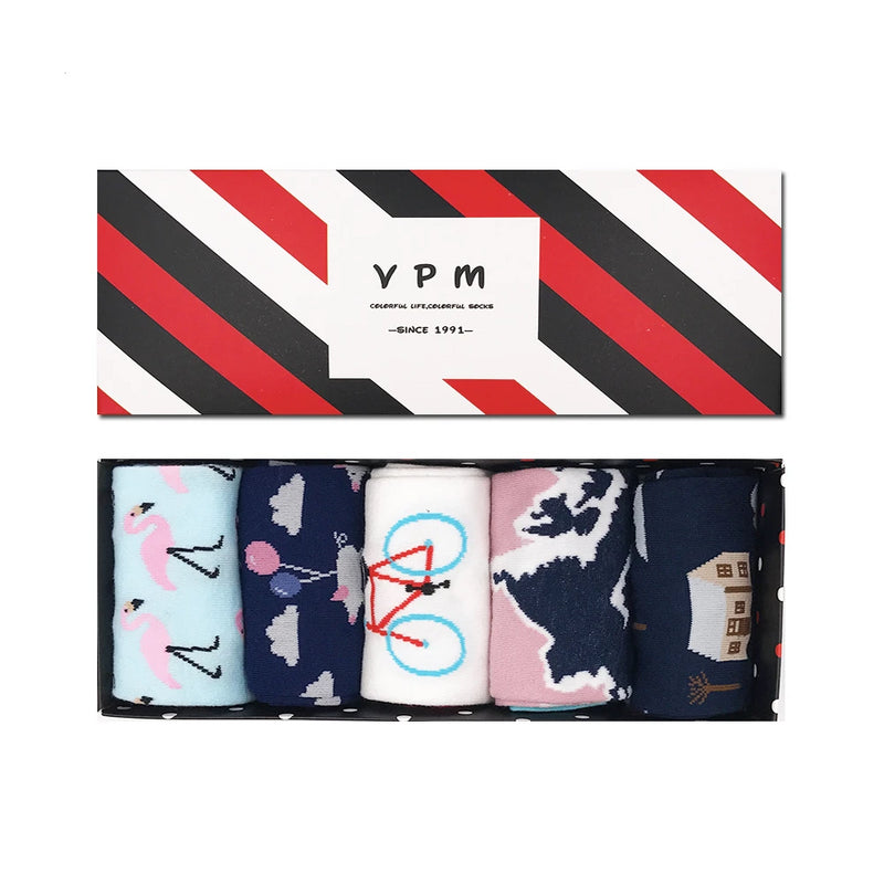 5 Pairs Women's Novelty Socks In A Box