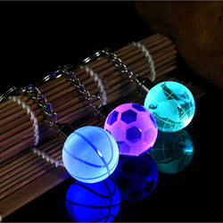 New Crystal Led Light Keychain Car Key Chain Key Ring Football Basketball Earth Ball Pendant Keyring For Favorite Sportsman Gift