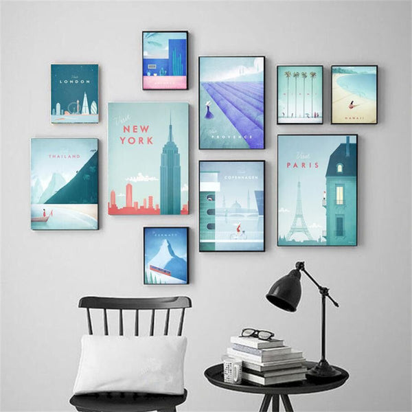 Cartoon City New York Paris London Morocco Wall Art Canvas Painting Nordic Posters And Prints Wall Pictures For Living Room Deco
