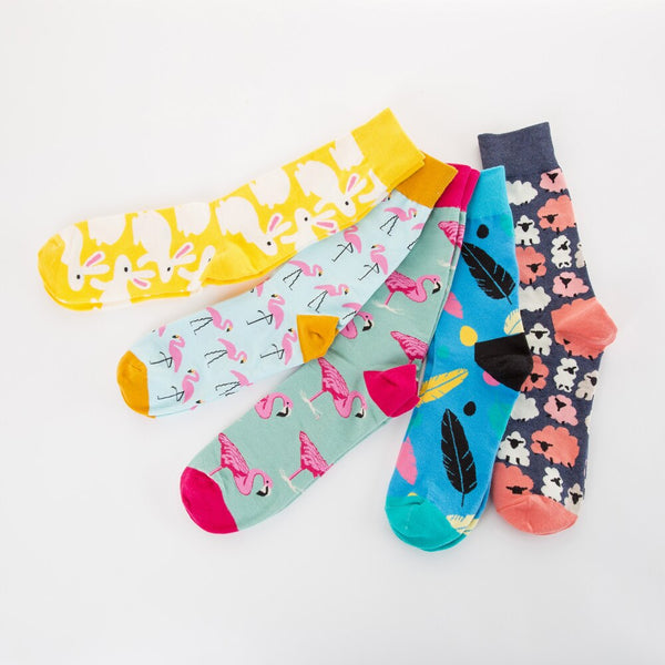 Jhouson 1 pair Novelty Men's Combed cotton Colorful Socks Funny Flamingo Leaves Pattern Crew Happy Wedding Socks For Gifts
