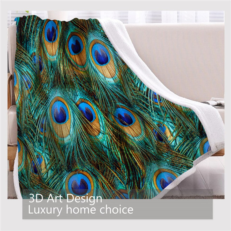 BlessLiving Peacock Feather Blanket Aqua Blue Turquoise Sherpa Flannel Fleece Blanket Sparkly Bird Fantasy Bed Couch manta