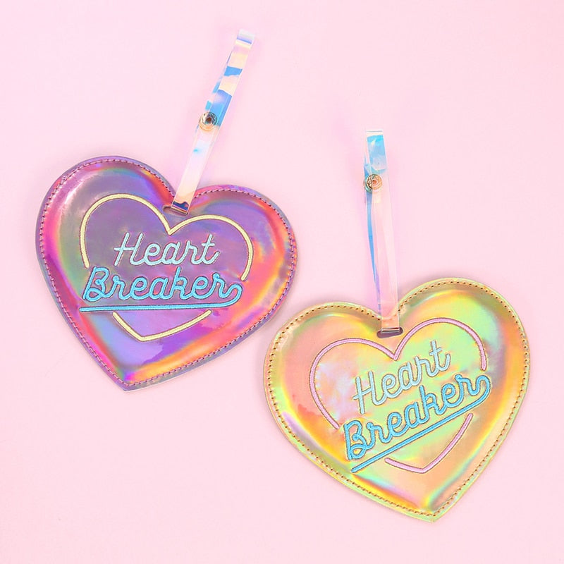 Hologram Heart Travel Luggage Tag Cartoon Leather Label Straps Suitcase Name ID Address Tags Luggage Tags Travel Accessory