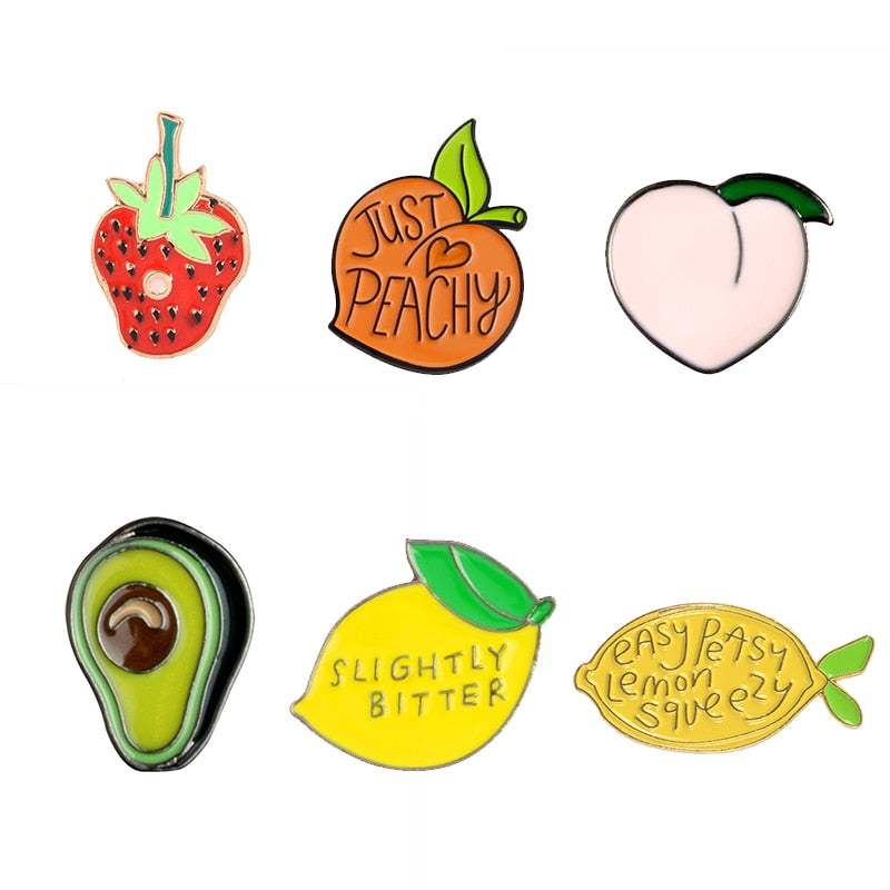 Cartoon Fashion Fruit Enamel Pins Cute Peach Lemon Strawberry Avocado Heart Fish Soft Enamel Lapel Pin Badge Brooches