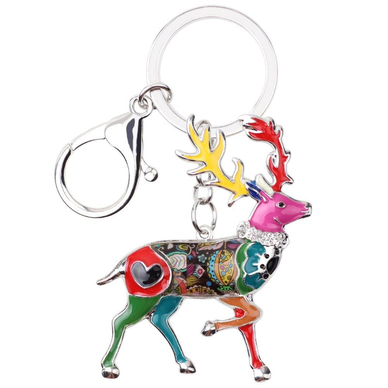 WEVENI Enamel Metal Reindeer Deer Key Chain Key Ring Bijoux Charm Keychain Wholesale Animal Jewelry For Women Christmas Gift