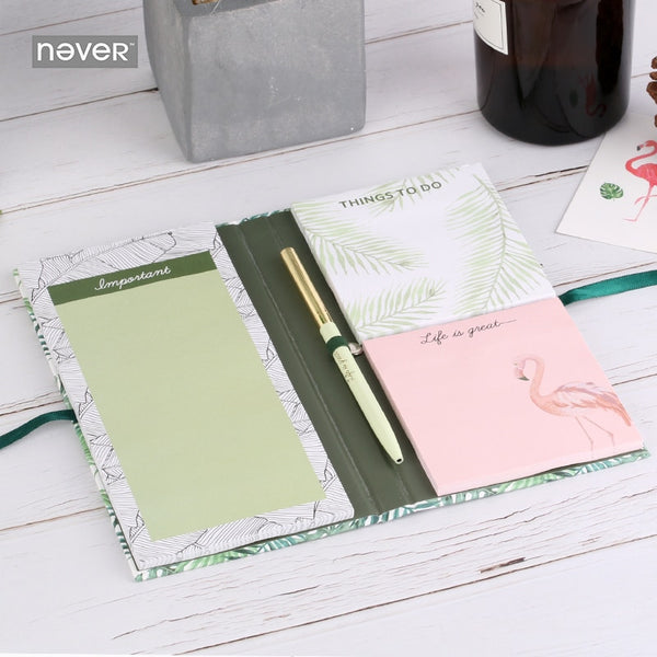 Plants series sticky notes memo pad Flamingo Ball pen Stationery set office accessories business Stationery store 2018