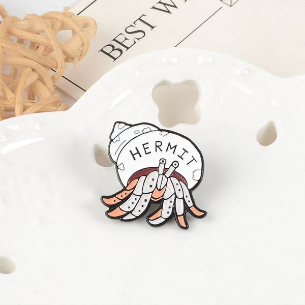 QIHE JEWELRY Hermit crab pin Animal brooches The Hermit Jewelry Salty Sea Cuties Badges Introverting Feel Better At Home