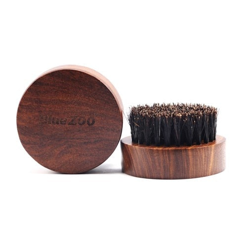 Gents Long Wooden Round Beard Brush