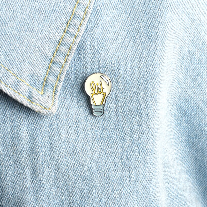 QIHE JEWELRY Brooches & pins Cartoon light bulb pins backpack shirt jeans decorative Women girl jewelry accessories