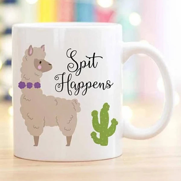 Cute Llama Coffee Mug, Spit Happens, Llama Lovers Gift, 11oz Ceramic Coffee Mug/Tea Cup