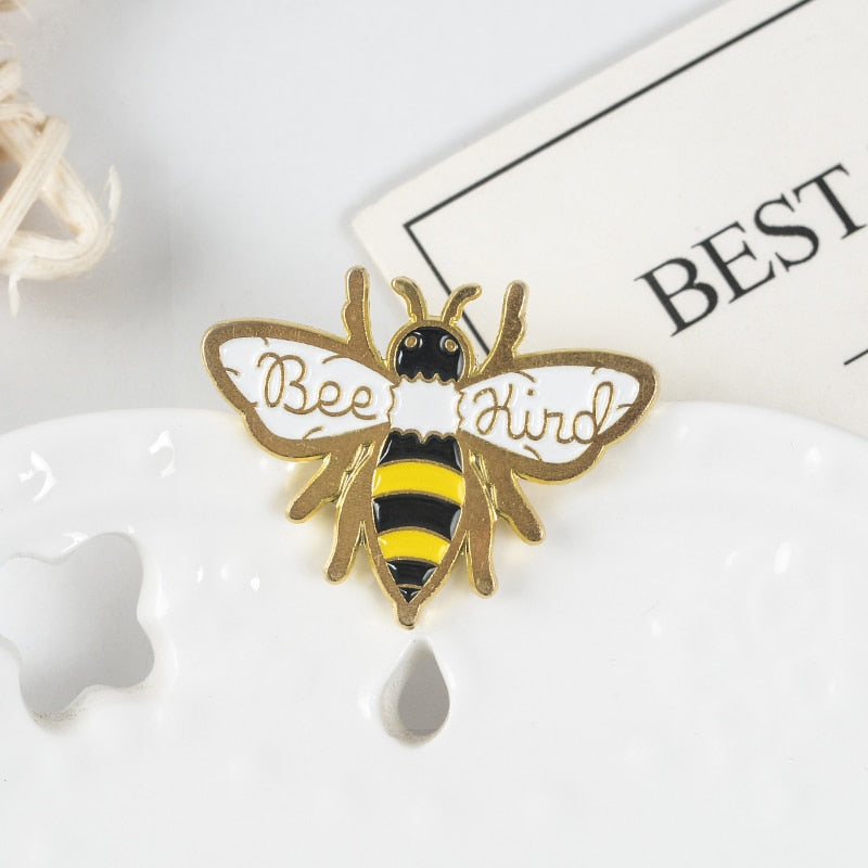 QIHE JEWELRY Bee Kind Pin Honey Brooch Bee Lapel Pin Be kind Enamel pin Animal Jewelry Brooches for Men Women