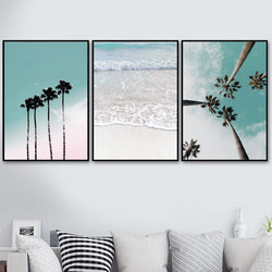 Coconut Palm Tree Pink Beach Sea Umbrella Wall Art Canvas Painting Nordic Posters And Prints Wall Pictures For Living Room Decor