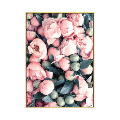 Pink Peony Flamingo Canvas Art Prints - No Borders or Frame