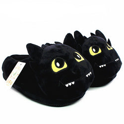 Unisex Anime Cartoon Plush Slippers How to Train Your Dragon Style Winter Warm Soft PP Cotton Black Home Fluffy Slippers Shoes