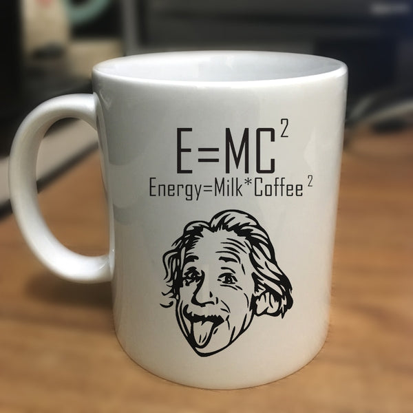 E = MC2 Energy Milk Coffee Einstein Formula - 11oz White Ceramic Coffee Mug - Physics Math Gifts - Funny Science Mug