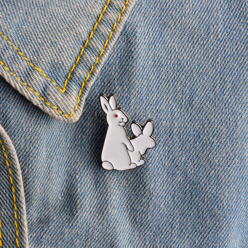 QIHE JEWELRY 2 White Rabbits Evil Brooch Pins Gold Hard Enamel Kawaii Pins Animal Brooch Jewelry Gift Idea For Girl Boy