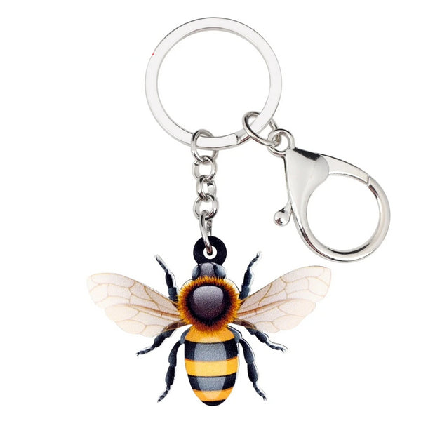 WEVENI Acrylic Cute Flying Honey Bee Insect Key Chains Keychains Bag Cartoon Animal Jewelry For Women Girls Teens Bag Charms