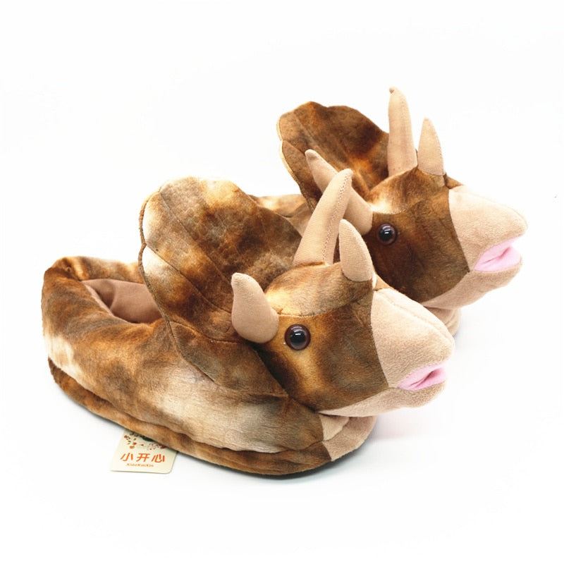 Unisex 3D Animals Slippers Adult&Children Triceratops Style Home Slippers Brown/Pink/Blue Winter Warm Short Plush House Shoes