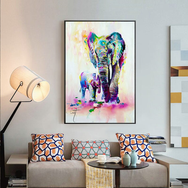 Modern Animal Print Watercolour Elephant Wall Art Canvas Painting Nordic Poster Decoration Wall Pictures for Living Room Decor