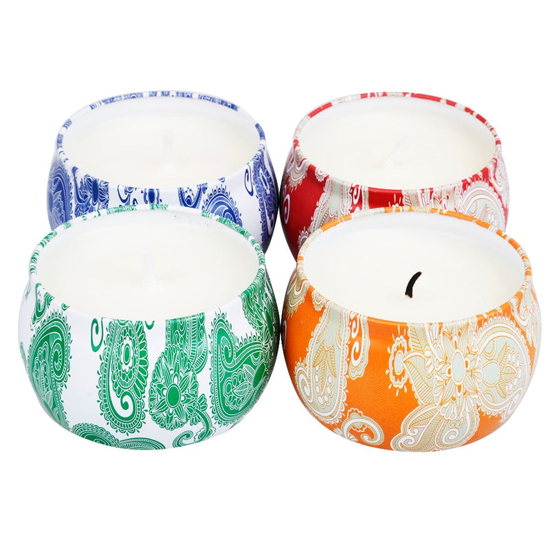 4pcs/set Tin Can Aromatherapy Scented Candles Soy Wax Natural Smokeless Candlestick For Wedding Birthday Party Home Decoration
