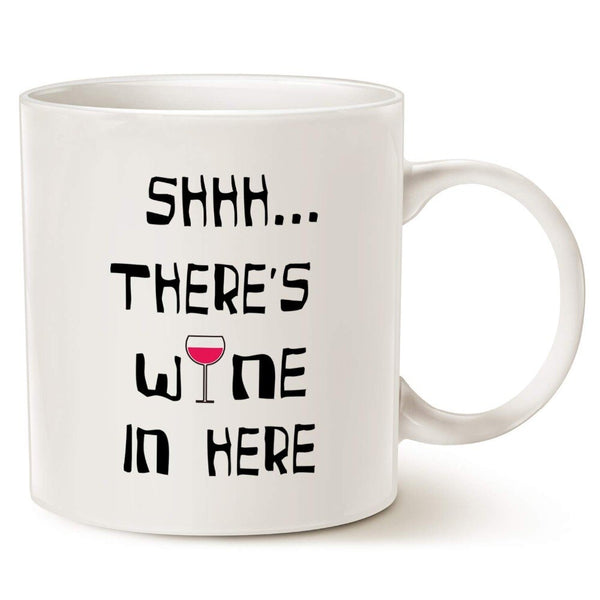 Funny Christmas Gifts Coffee Mug - Shhh.there's wine in here - Unique Friend and Family Gifts Ceramic Cup White, 11 Oz