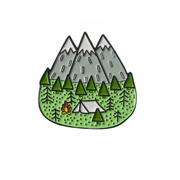 QIHE JEWELRY Camping pins Tent Tree Mountain Forest Brooches Badges Lapel pins Brooches for men women children
